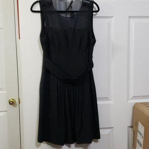 Cynthia Steffe black dress mesh, buttons, belt 12